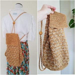 🦋VINTAGE Woven Straw Drawstring Backpack
